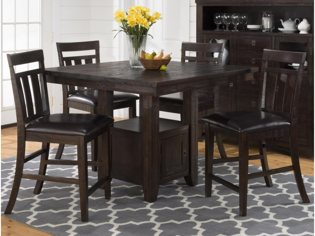 Jofran Kona GrovePub Table with Storage Base and Chairs Set
