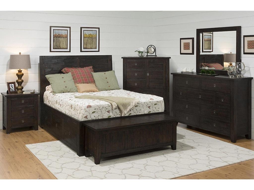 Jofran Mariposa Grove4-Piece Queen Storage Bedroom Set