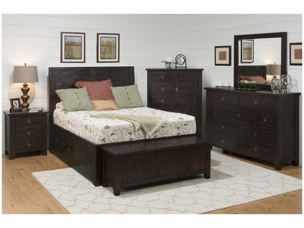 Jofran Mariposa GroveKing Storage Bed