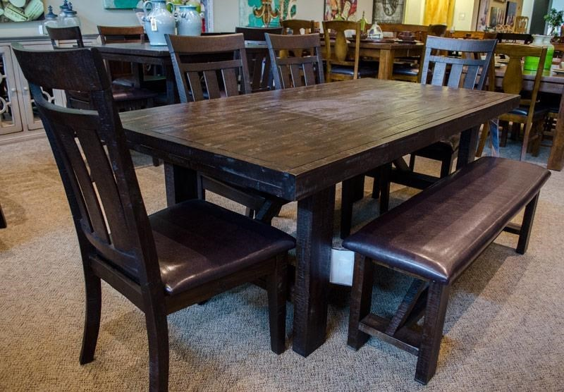 Jofran Kona Grove JOFR GRP 705 TBLu00266 Dining Table U0026 6 Upholstered Side  Chairs (Bench Not Included)