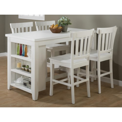 Island Nook Reclaimed Pine Counter Height Table Set With 3