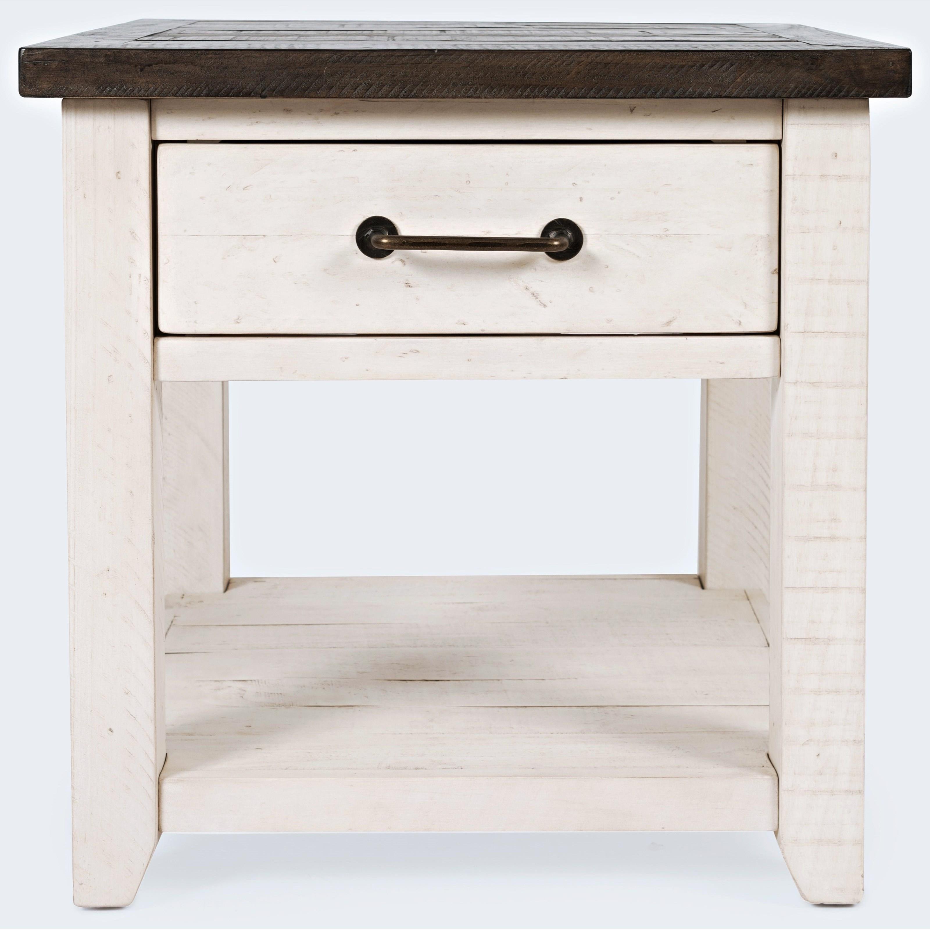 Banton End Table-Vintage White