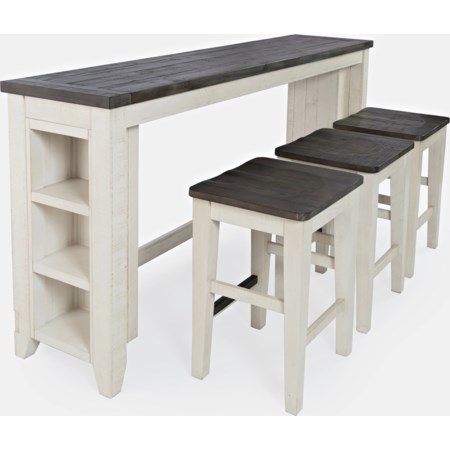4pc Sofa Console, Stool Set
