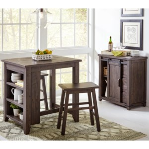 Jofran Madison County 3 Piece Counter Height Table Set Zak S Home Dining 3 Piece Sets