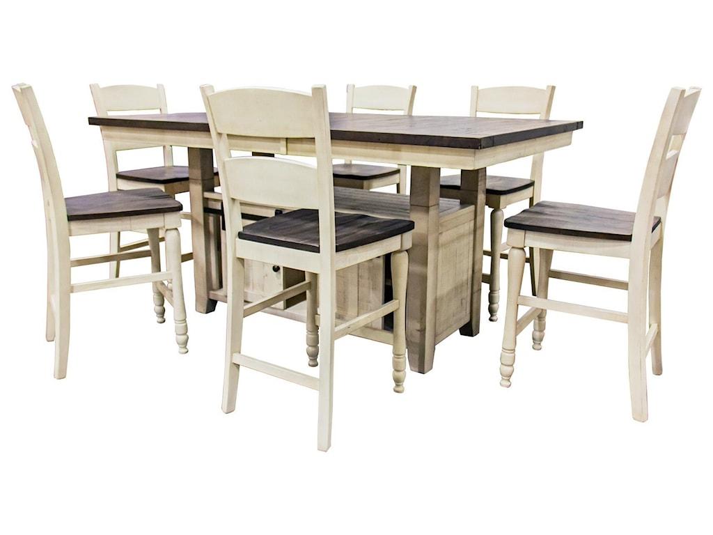 Jofran Madison CountyVintage White Hi/Low Table & 6 Ladderback Co