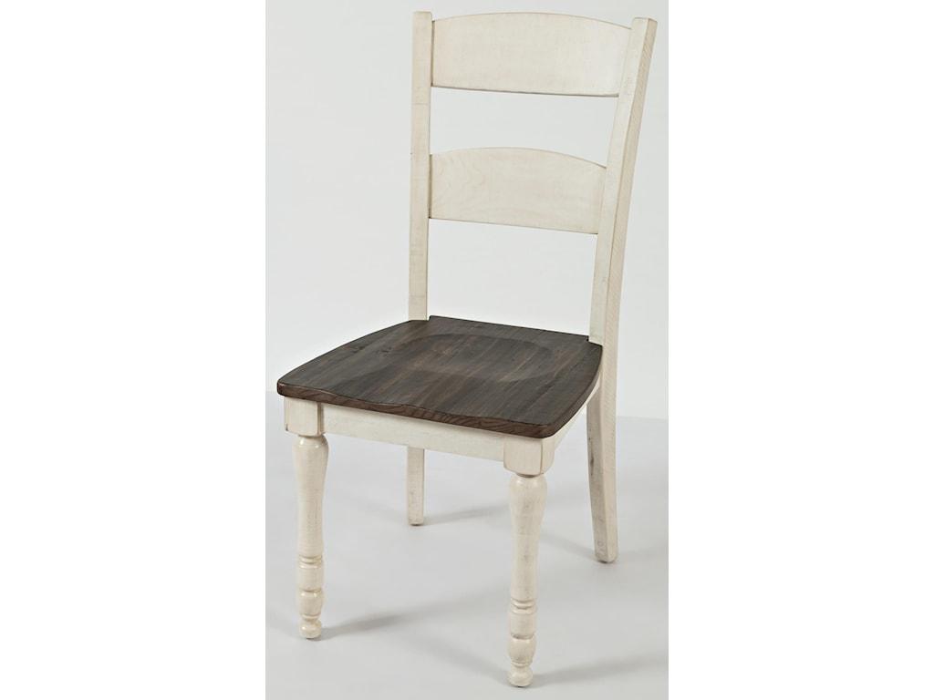 Jofran Madison CountyVintage White Hi/Low Table & 6 Ladderback