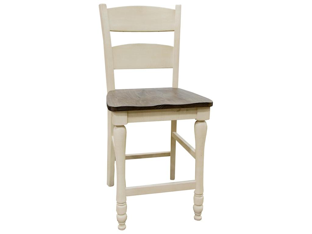 Jofran Madison CountyVintage White Hi/Low Table & 8 Ladderback Co