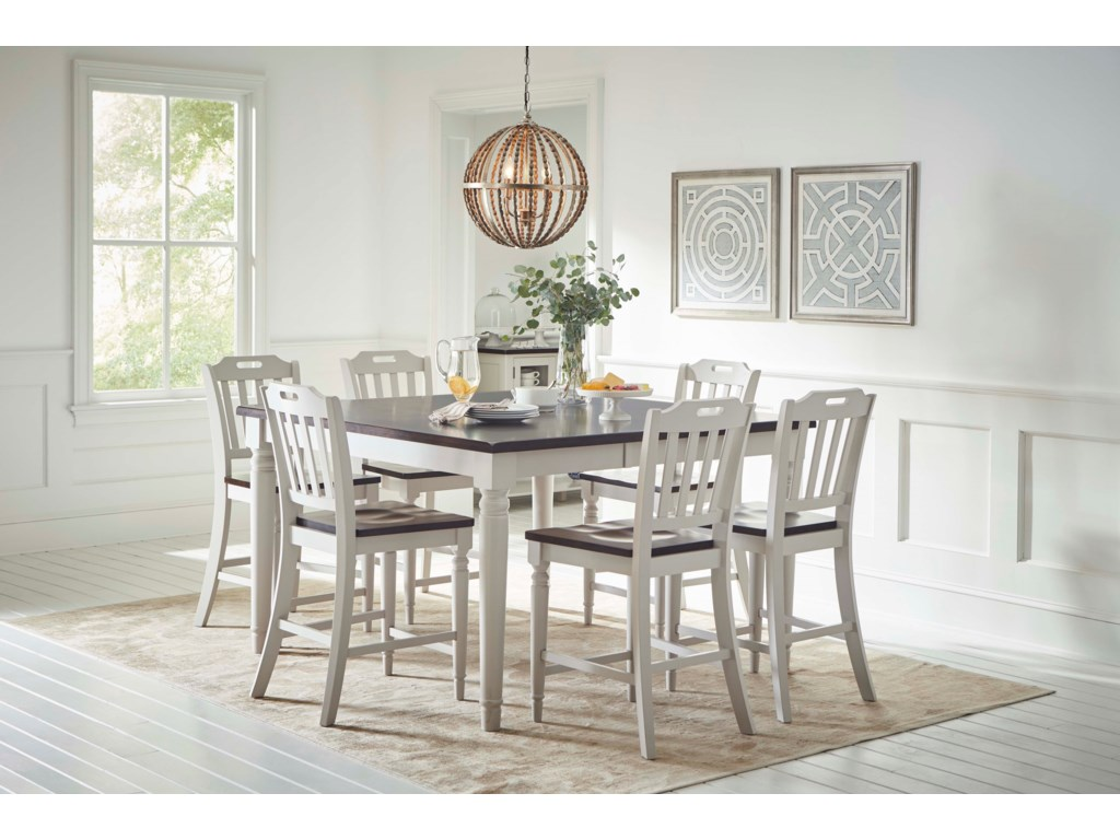 Jofran Orchard Park Counter Height Dining Table With 8 Chairs Reeds Furniture Dining 7 Or More Piece Sets