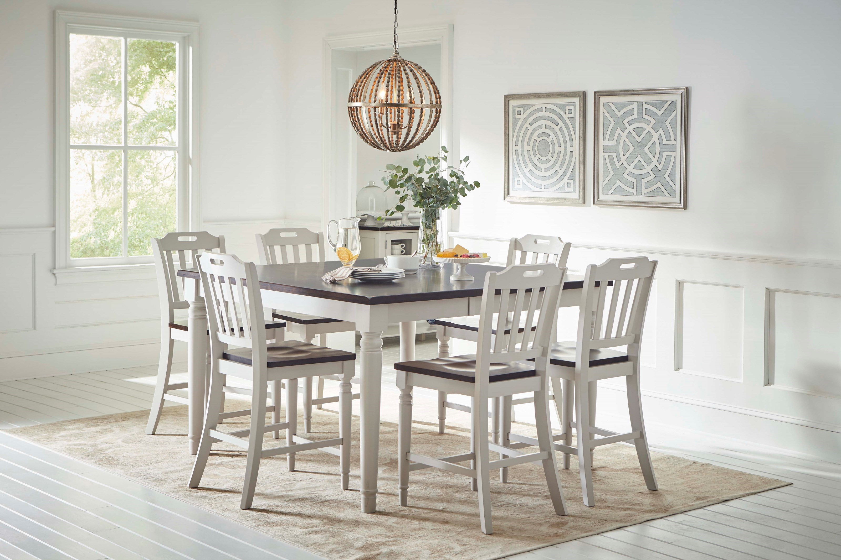 Jofran Orchard ParkCounter Height Dining Table With 8 Chairs