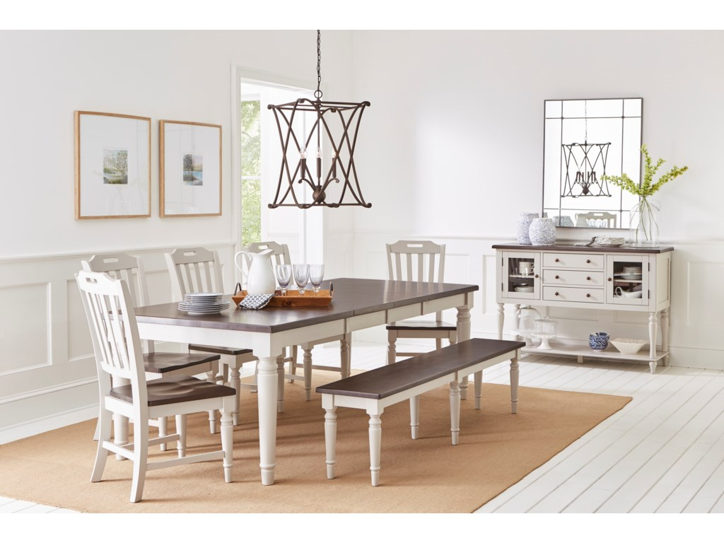 Jofran Orchard ParkDining Table with 6 Chairs and Bench