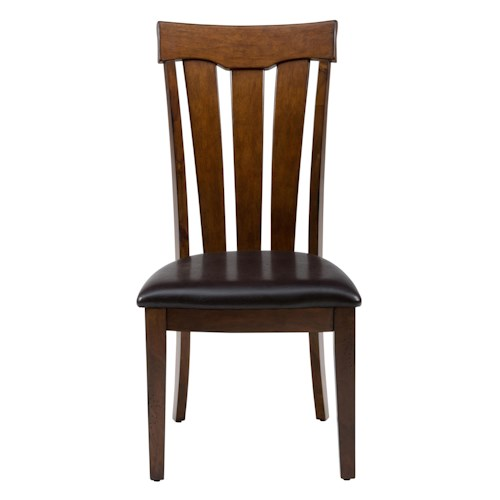Jofran Plantation Slat Back Chair with Upholstered Seat