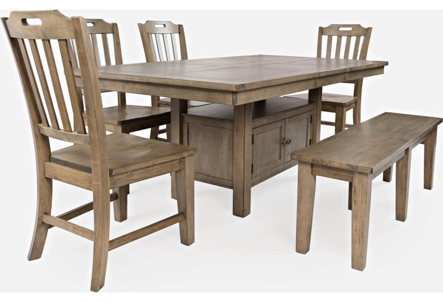 Jofran Prescott Park 6pc 1936 74 Dining W Bench 6 Piece Dining Table And Chair Set Pilgrim Furniture City Dining 7 Or More Piece Sets