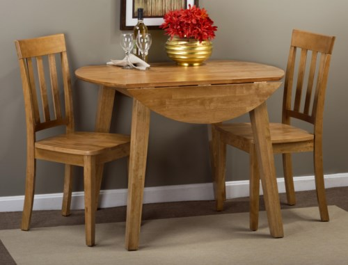 Jofran Simplicity Round Table And 2 Chair Set With Slat