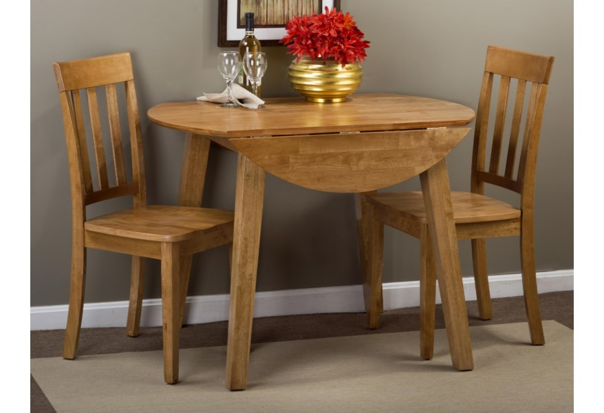 Simplicity Round Table and 2 Chair Set (with Slat Back Chairs) by Jofran at  Simply Home by Lindy\'s