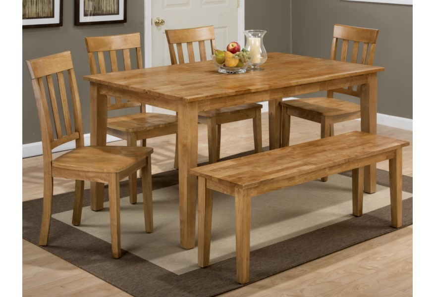 Jofran Simplicity Rectangle Dining Table And X Back Chair Set With Bench Lindy S Furniture Company Table Chair Set With Bench