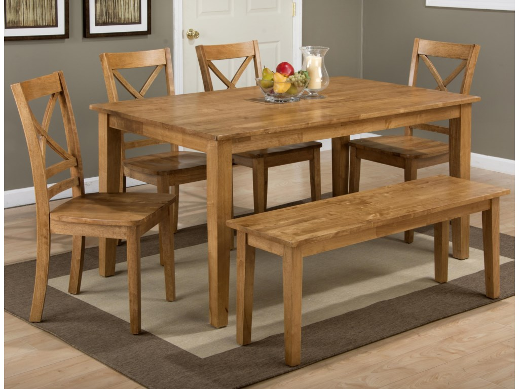 Jofran SimplicityRectangle Dining Table Set with Bench