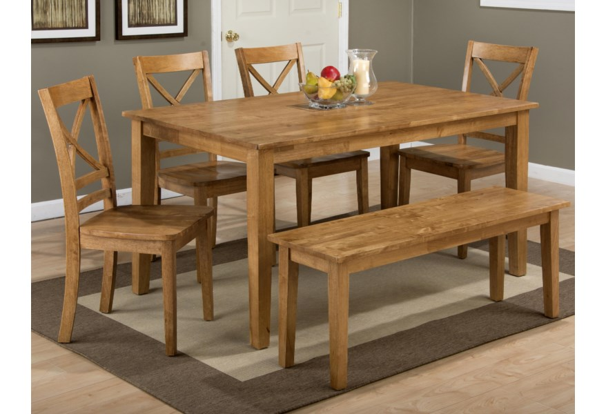 Simplicity Rectangle Dining Table Set with Bench