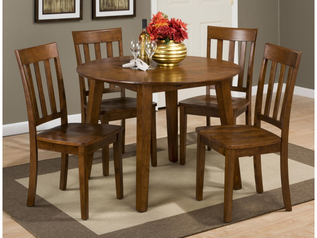 Jofran Simplicity Round Table And 4 Chair Set With Slat Back Chairs Superstore Dining 5 Piece Sets