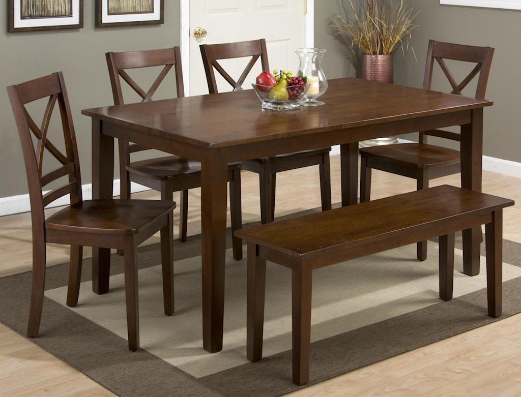 Jofran simplicityrectangle dining table set with bench