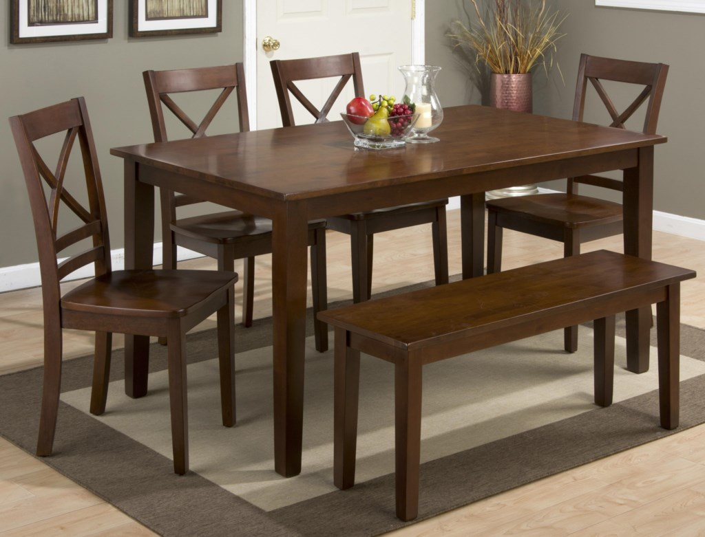 Jofran Simplicity Rectangle Dining Table And X Back Chair Set
