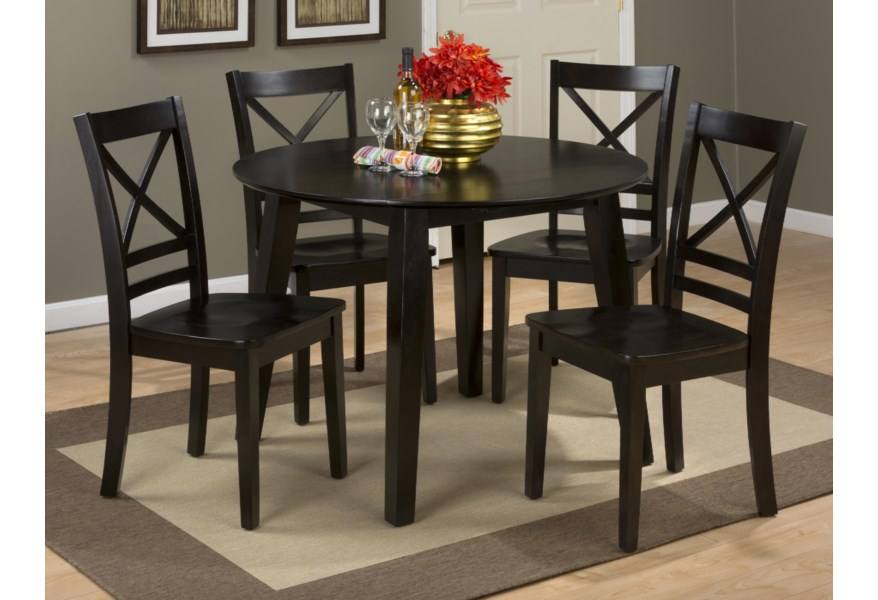 Jofran Simplicity Round Table And 4 Chair Set With X Back Chairs Stoney Creek Furniture Dining 5 Piece Sets