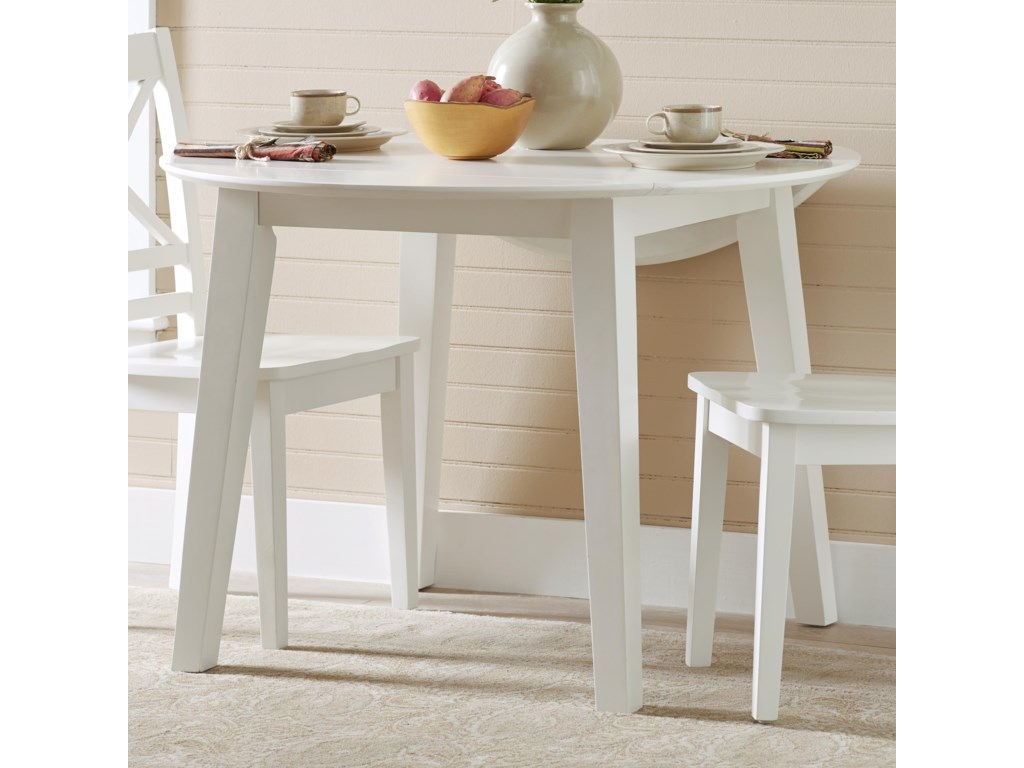 3x3x3 - White Round Drop Leaf Table