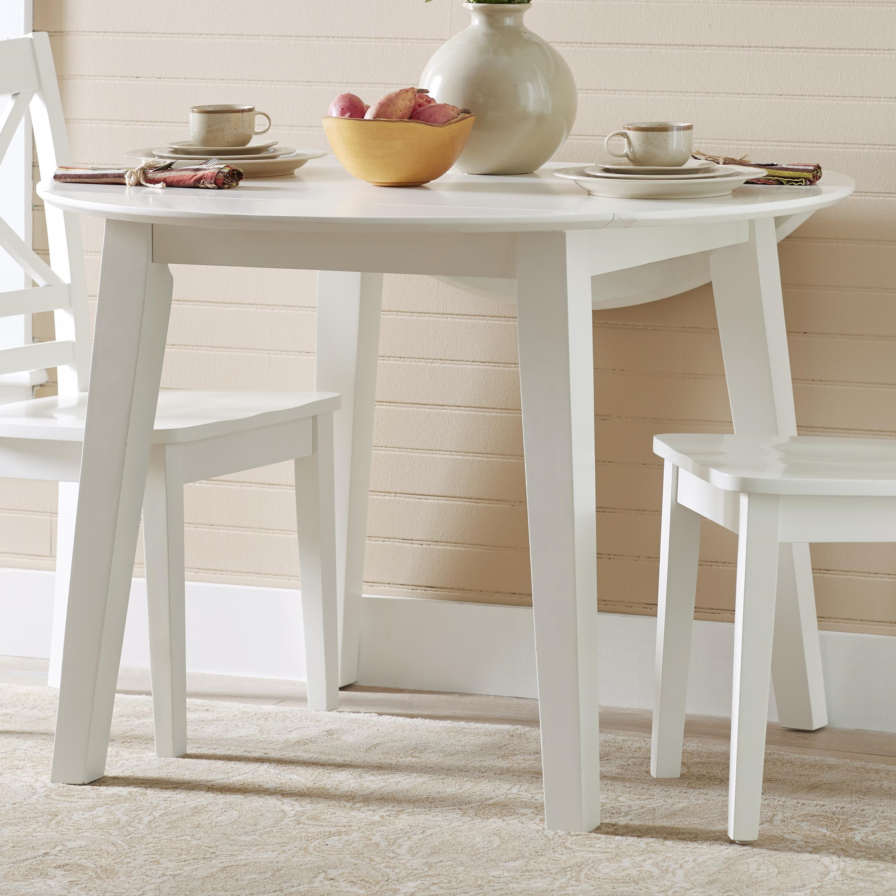 3x3x3   White Round Drop Leaf Table That Seats 4 For Dining Areas By Jofran  At Rotmans