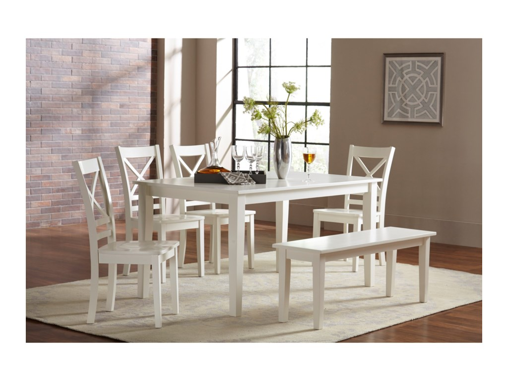 Jofran Simplicity Dining Table and Chair/Bench Set | Dunk & Bright ...