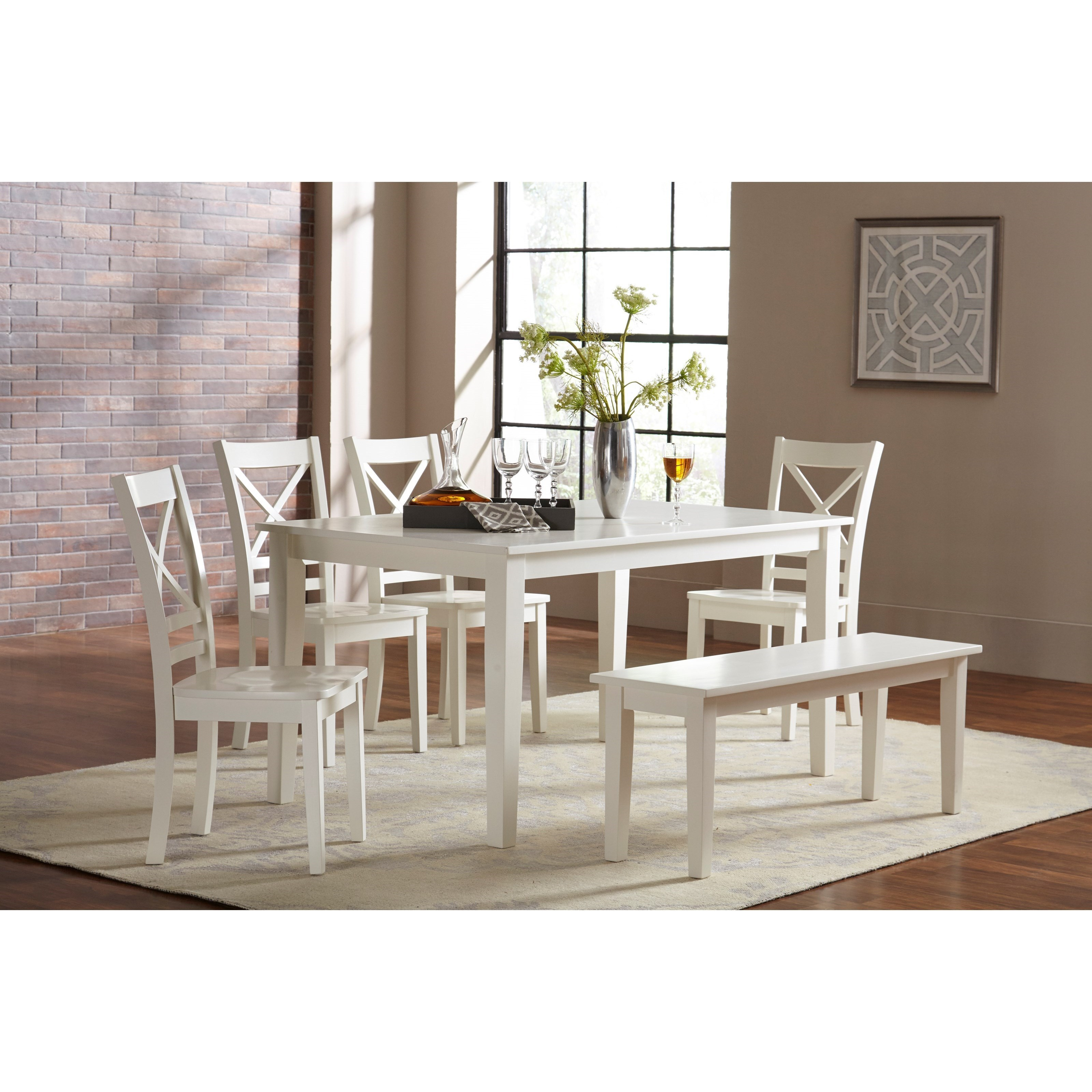 Jofran 3x3x3: WhiteDining Table And Chair/Bench Set