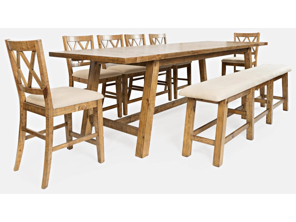 Jofran Telluride Trestle Table with Bench and 6 Stools