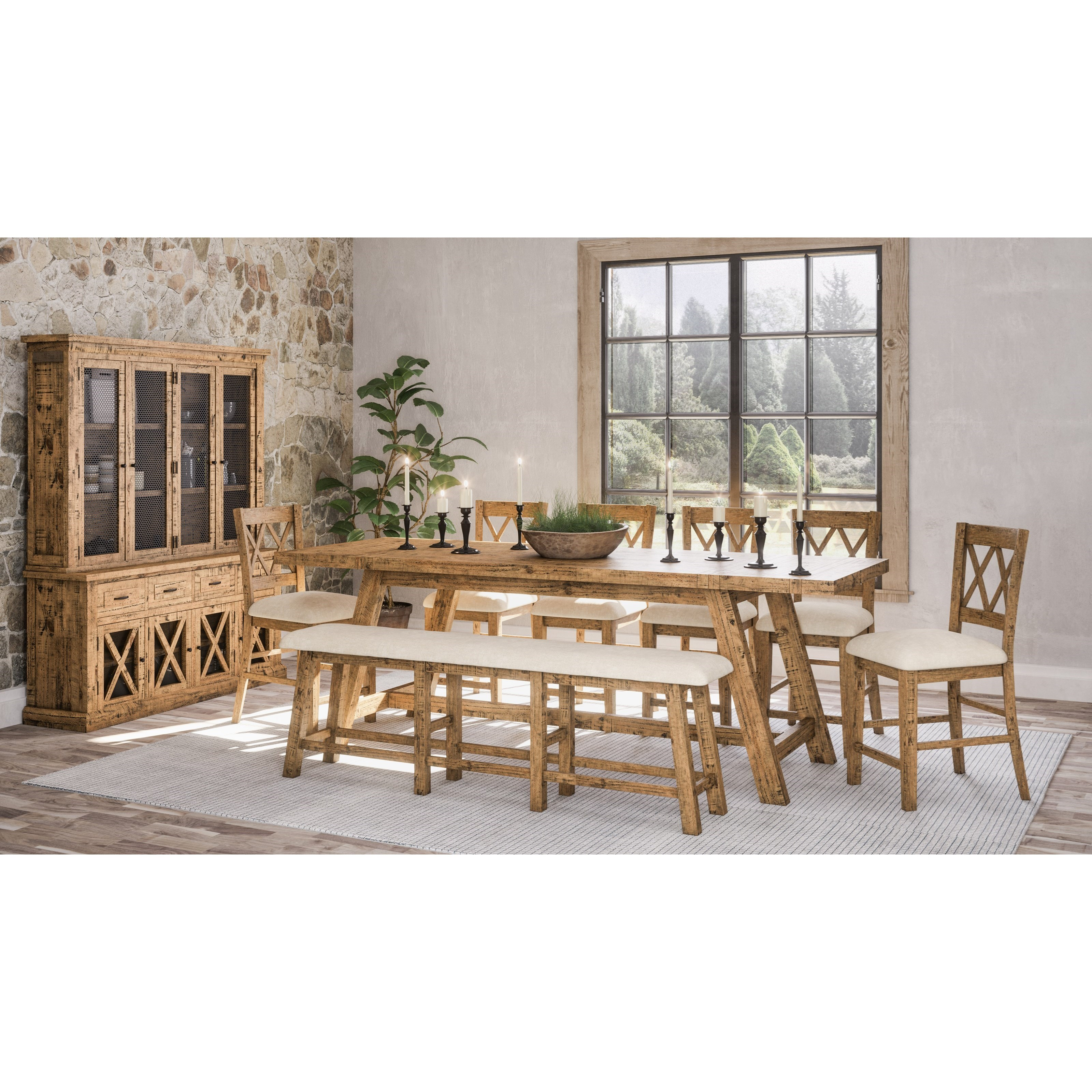 8-Piece Counter Height Table and Chair Set with Bench