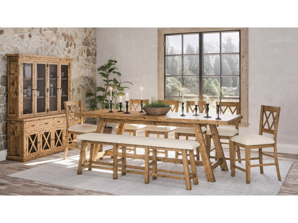 Jofran Telluride Table and Chair Set with Bench