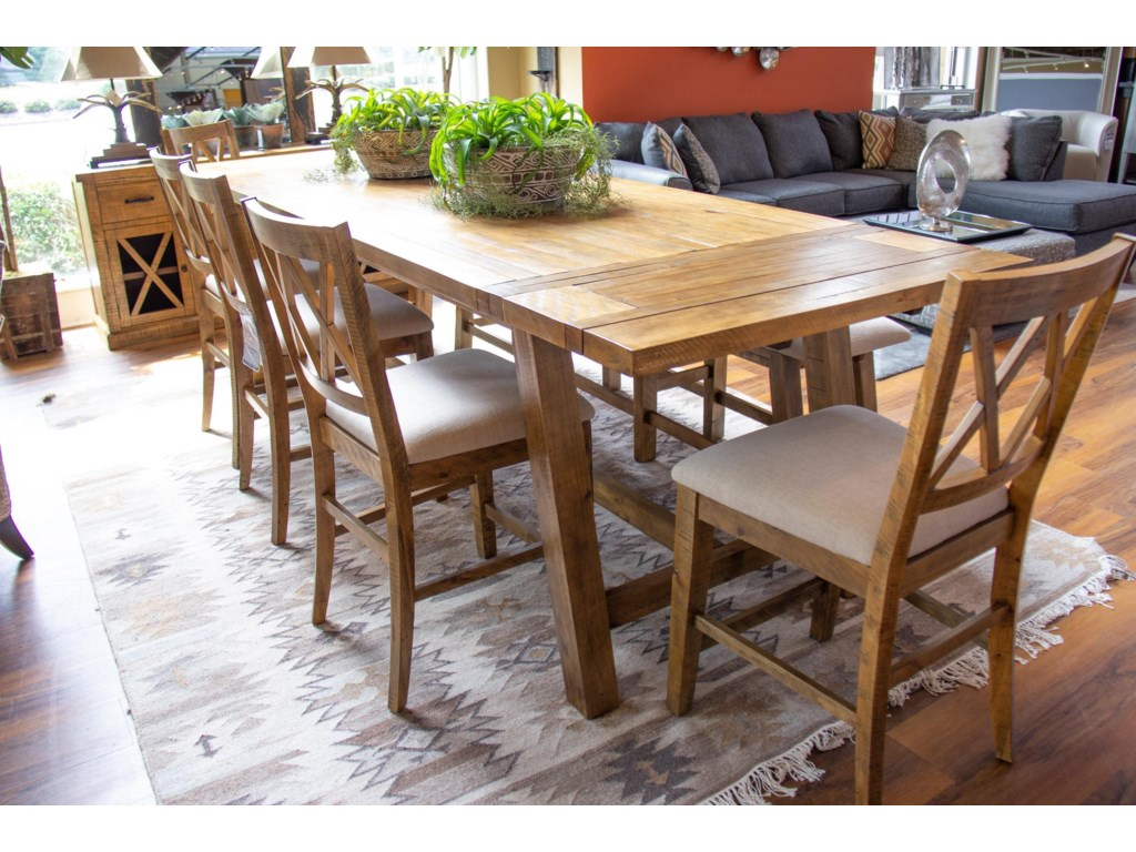 Jofran Telluride Counter Table, 5 Counter Chairs & Counter Be
