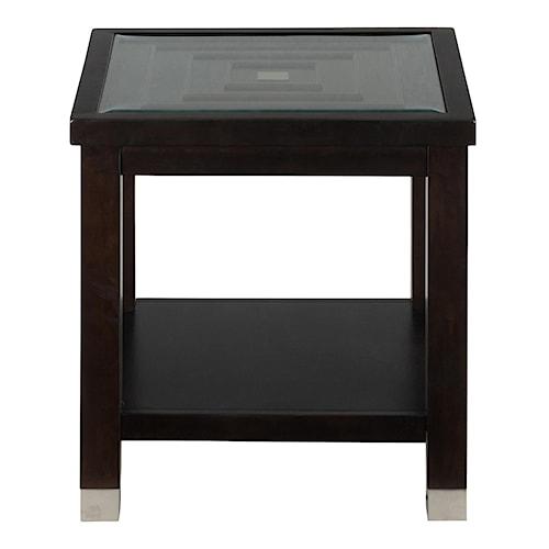 Jofran warren end table with glass top pilgrim furniture for Table warren silex