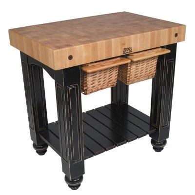 John Boos Kitchen Carts And Islands Kitchen Island With Butcher Block Top  And Wicker Basket Storage