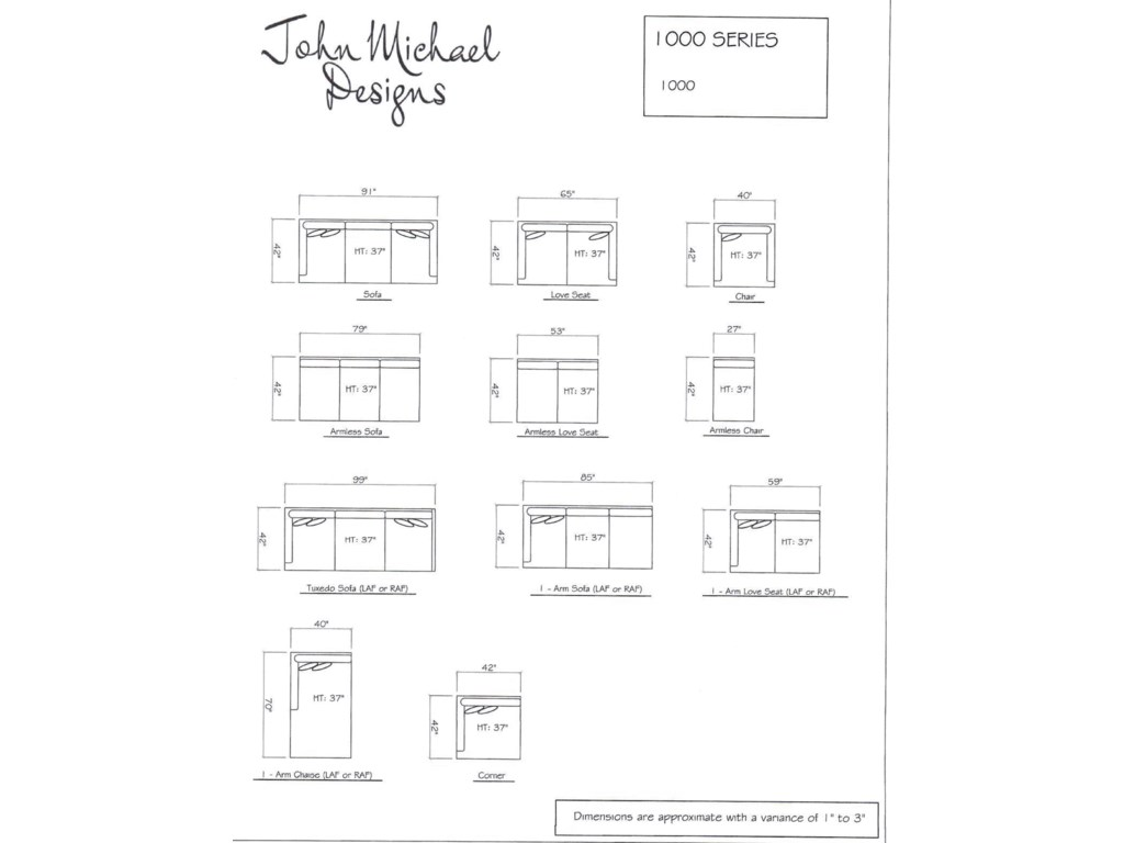JMD Furniture 10003 PC Down Sectional