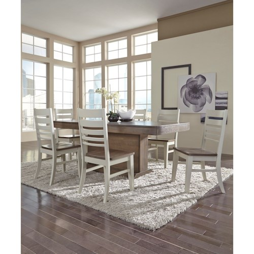John Thomas Luxe Contemporary Table and Chair Set with Panel Back Two-Tone Chairs