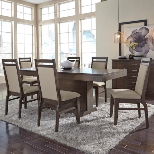 John Thomas Luxe Contemporary Table and Chair Set with Upholstered Chairs and Pedestal Table