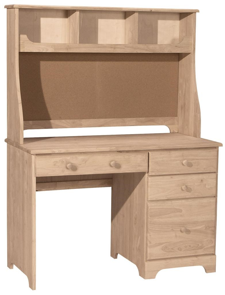 John Thomas SELECT Home Office Casual 4 Drawer Desk Hutch With Corkboard