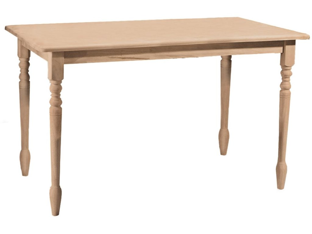John Thomas SELECT DiningSolid Top Farmhouse Table with Turned Legs