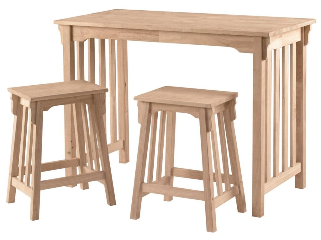 John Thomas SELECT Dining3-Piece Mission Gathering Table & Stool Set