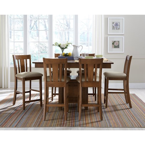 John Thomas SELECT Dining Counter Height Table and Chair Set with Storage and Butterfly Leaf