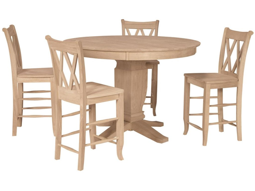 Shown with 4 Double X-Back Stools