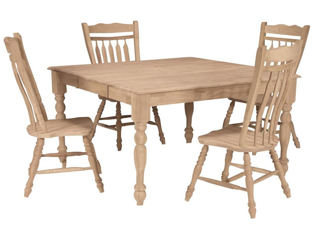 John Thomas SELECT DiningSquare Butterfly Leaf Table with Turned Legs