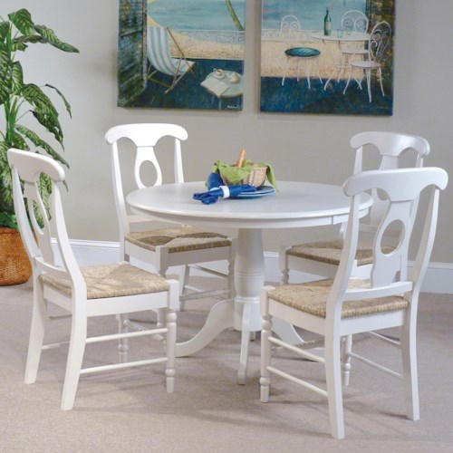 John Thomas Simply Linen 5-Piece Table and Side Chairs with White Finish