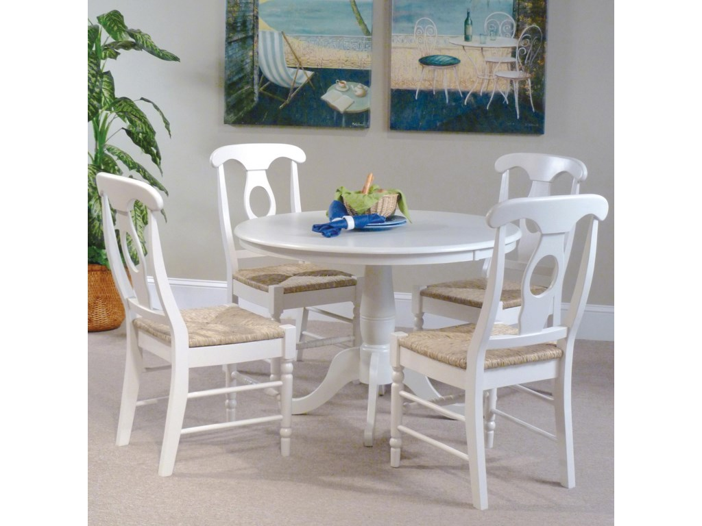 John Thomas Simply Linen 5 Piece Table And Side Chairs With White Finish