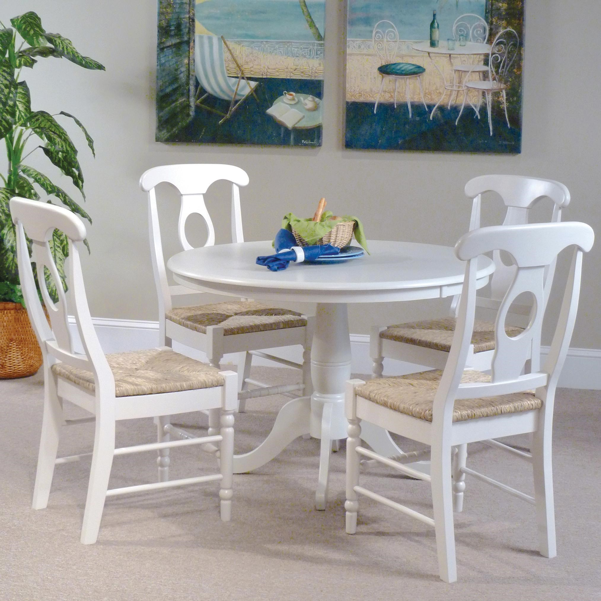 John Thomas Simply Linen 5-Piece Table and Side Chairs with White Finish  sc 1 st  Belfort Furniture & John Thomas Simply Linen 5-Piece Table and Side Chairs with White ...