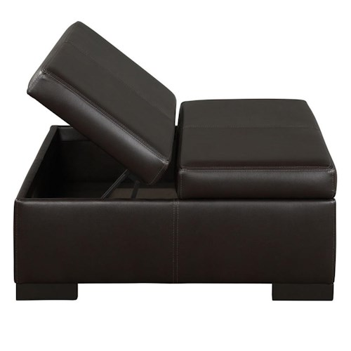 Jonathan Louis 835 Casual Leather Storage Ottoman with Exposed Wood Block Feet