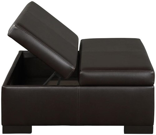Jonathan Louis Donavan Casual Leather Storage Ottoman with Exposed Wood Block Feet