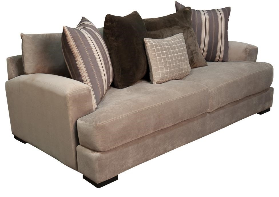 Aldo modern plush sofa with accent pillows by santa monica